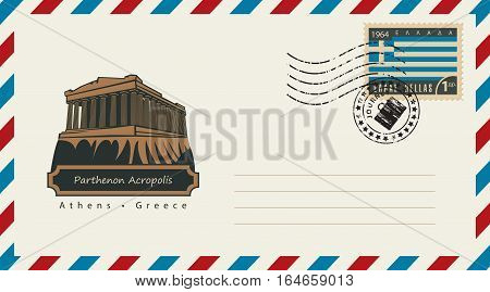 an envelope with a postage stamp with Acropolis Parthenon in Athens and the flag of Greece