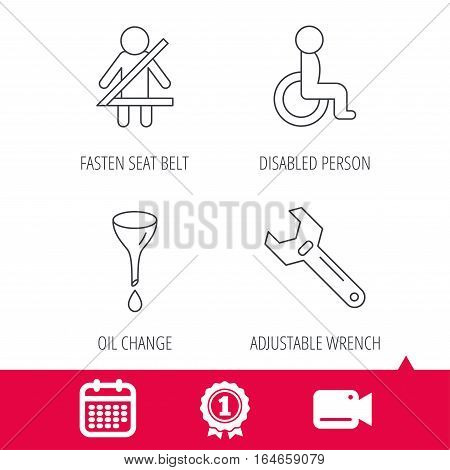 Achievement and video cam signs. Seat belt, oil change and wrench tool icons. Disabled person linear sign. Calendar icon. Vector