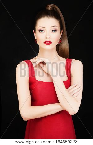 Fashion Photo of Young Beautiful Model Woman in Red Dress