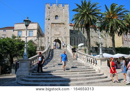 Korcula, Croatia - June 3: Kopnena Vrata (land Gate) On June 3, 2015 In Korcula Old Town On Korcula