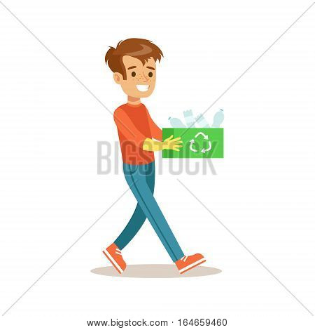 Boy Carrying Box Of Recycle Plastic Helping In Eco-Friendly Gardening Outdoors Part Of Kids And Nature Series. Happy Child Interacting With Nature And Participating In Garden Clean-up Procedures Vector Illustration.
