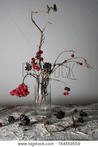 still life. viburnum branches with berries and snow in a transparent vase.