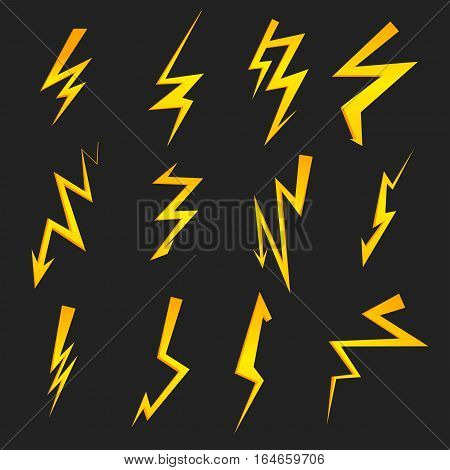 Set of cartoon isolated lightnings on black for design. Thunder-storm and lightnings. Graphic illustration