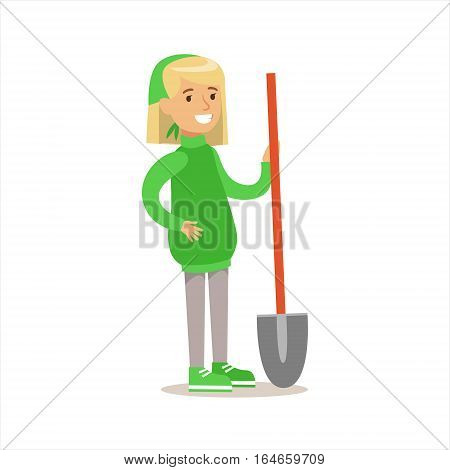 Girl In Green Sweater With A Shovel Helping In Eco-Friendly Gardening Outdoors Part Of Kids And Nature Series. Happy Child Interacting With Nature And Participating In Garden Clean-up Procedures Vector Illustration.