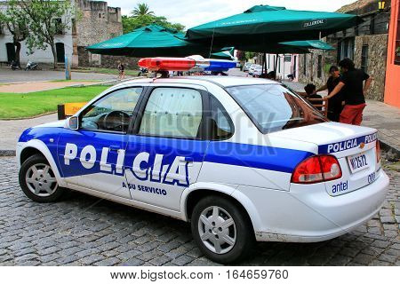 Colonia, Uruguay - December 7: Police Car Parked At Plaza De Armas On December 7, 2014 In Colonia De