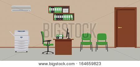 Workplace of office worker. There is a table, green chairs, a copy machine, a conditioner, shelves for documents and other objects in the picture. Vector flat illustration.