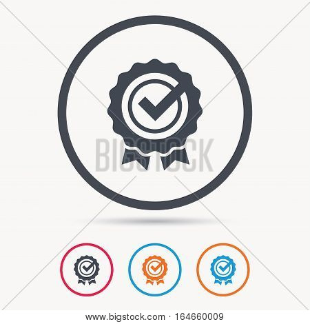 Award medal icon. Winner emblem with tick symbol. Colored circle buttons with flat web icon. Vector