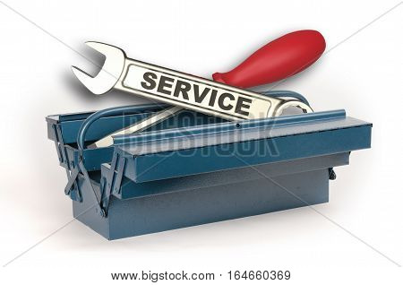 Toolbox open with service wrench isolated on white background