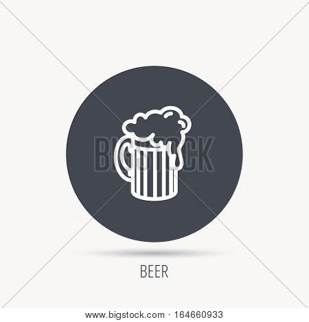 Beer icon. Glass of alcohol drink sign. Brewery symbol. Round web button with flat icon. Vector