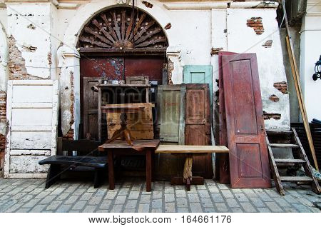 Old doors for sale in the heritage town of Vigan in the Philippines