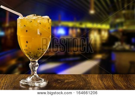 Passion Fruit Caipirinha Of Brazil On Wooden Background