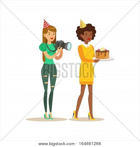 Two Women Taking Pictures And Bringing Cake, Kids Birthday Party Scene With Cartoon Smiling Character. Part Of Children And Festive Celebration Attributes Series Of Vector Illustrations
