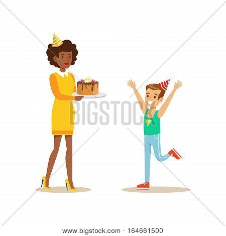 Woman Presenting A Cake To A Boy, Kids Birthday Party Scene With Cartoon Smiling Character. Part Of Children And Festive Celebration Attributes Series Of Vector Illustrations