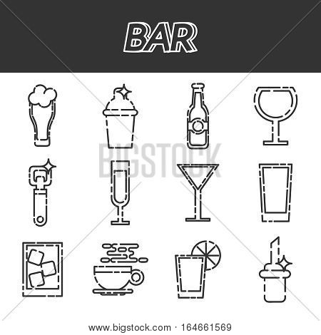 Bar flat icons set. Vector illustration, EPS 10