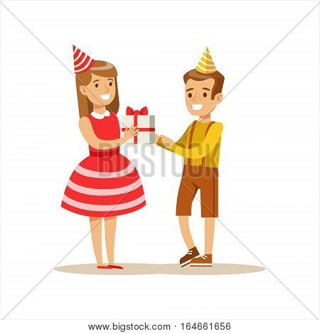 Boy Giving Present To Girl, Kids Birthday Party Scene With Cartoon Smiling Character. Part Of Children And Festive Celebration Attributes Series Of Vector Illustrations