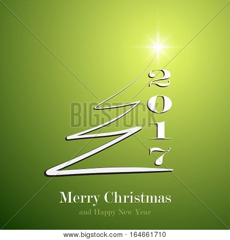 Happy New Year 2017 background. Calendar decoration. Greeting green card. Template white Christmas tree for yor design. Graphic illustration