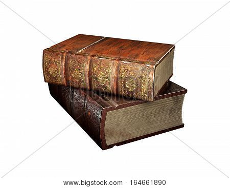 Tow old books isolated on white Vintage antiquarian books. Back to school education concept. 3D illustration.