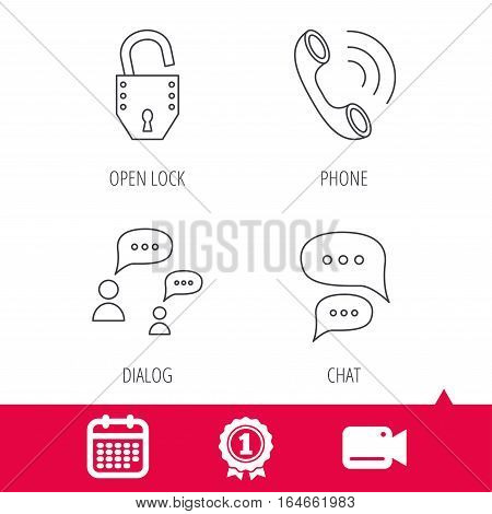 Achievement and video cam signs. Phone call, chat speech bubbles and lock icons. Dialog linear sign. Calendar icon. Vector