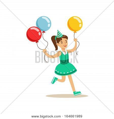 Girl Running With Three Multicolor Party Balloons, Kids Birthday Party Scene With Cartoon Smiling Character. Part Of Children And Festive Celebration Attributes Series Of Vector Illustrations