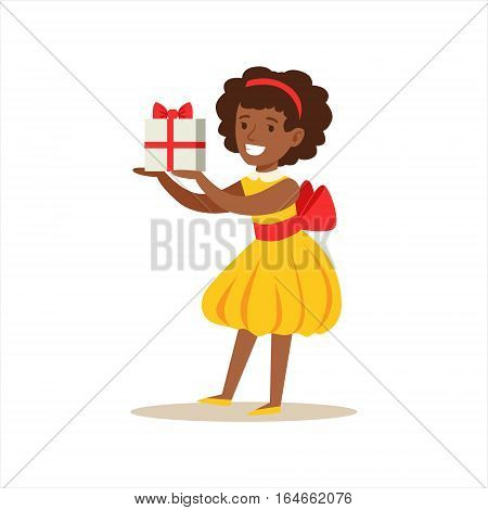 Girl In Yellow Dress Holding A Present, Kids Birthday Party Scene With Cartoon Smiling Character. Part Of Children And Festive Celebration Attributes Series Of Vector Illustrations