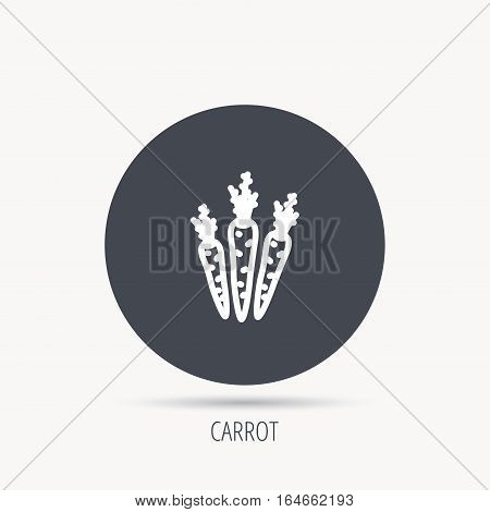 Carrots icon. Vegetarian food sign. Natural vegetables symbol. Round web button with flat icon. Vector