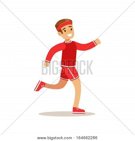 Boy Running, Kid Practicing Different Sports And Physical Activities In Physical Education Class. Athletic Teenager Happy To Do Sportive Training Cartoon Vector Illustration.