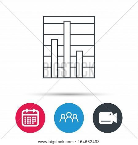 Chart icon. Graph diagram sign. Demand reduction symbol. Group of people, video cam and calendar icons. Vector