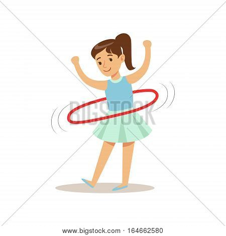 Girl Doing Hula-hoop, Kid Practicing Different Sports And Physical Activities In Physical Education Class. Athletic Teenager Happy To Do Sportive Training Cartoon Vector Illustration.