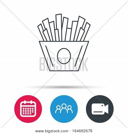 Chips icon. Fries fast food sign. Fried potatoes symbol. Group of people, video cam and calendar icons. Vector