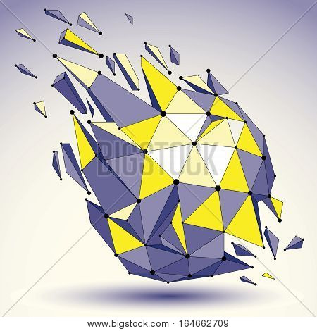 3D Vector Digital Wireframe Colorful Object Broken Into Different Particles And Refractions, Geometr