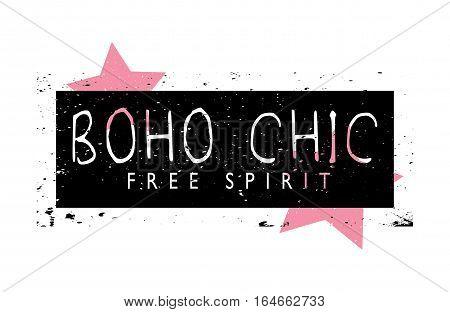 Boho chic free spirit t-shirt graphics slogan tee illustration design