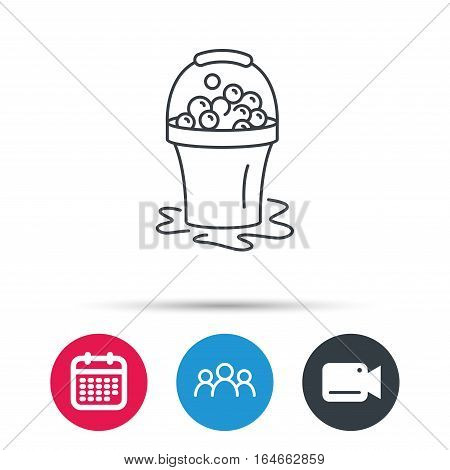 Soapy cleaning icon. Bucket with foam and bubbles sign. Group of people, video cam and calendar icons. Vector