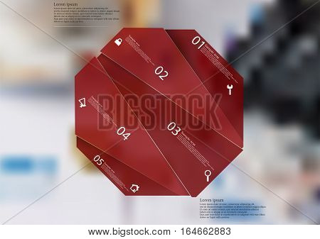 Illustration infographic template with motif of red octagon randomly divided to five sections with simple signs. Blurred photo with financial motif (coins calculator charts) is used as background.