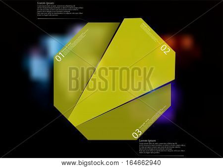 Illustration infographic template with motif of green octagon randomly divided to three sections with simple signs. Blurred photo with several colorful game dices is used as background.