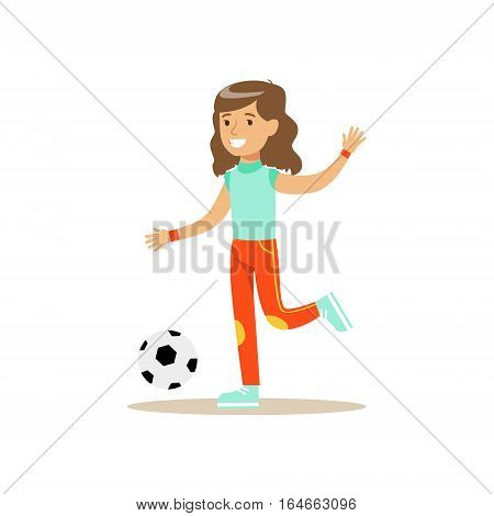 Girl Playing Football, Kid Practicing Different Sports And Physical Activities In Physical Education Class. Athletic Teenager Happy To Do Sportive Training Cartoon Vector Illustration.