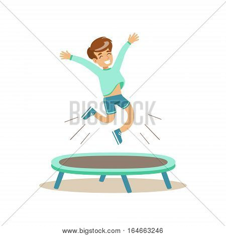Boy Jumping On Trampoline, Kid Practicing Different Sports And Physical Activities In Physical Education Class. Athletic Teenager Happy To Do Sportive Training Cartoon Vector Illustration.
