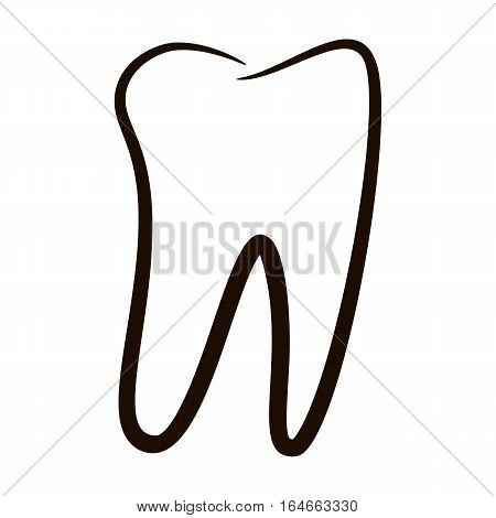 Human teeth icons set isolated on white background for dental medicine clinic. Linear dentist logo. Graphic illustration