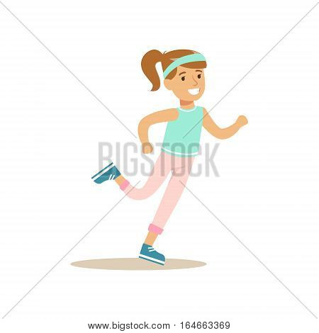 Girl Running, Kid Practicing Different Sports And Physical Activities In Physical Education Class. Athletic Teenager Happy To Do Sportive Training Cartoon Vector Illustration.