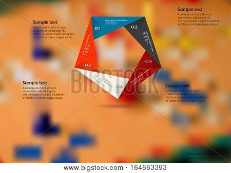 Illustration infographic template with motif of color origami pentagon consists of five sections with simple signs. Blurred photo with ludo game board is used as background.