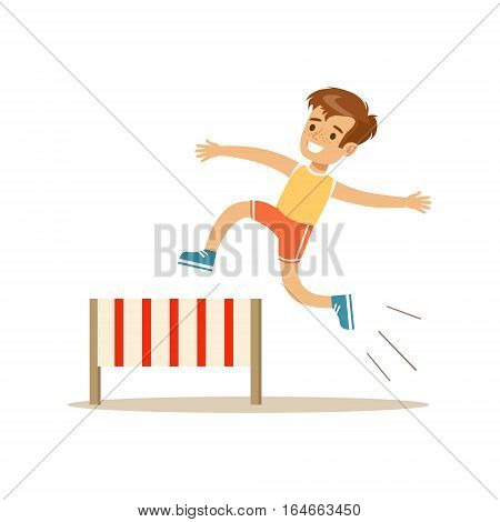 Boy Hurdle Racing, Kid Practicing Different Sports And Physical Activities In Physical Education Class. Athletic Teenager Happy To Do Sportive Training Cartoon Vector Illustration.