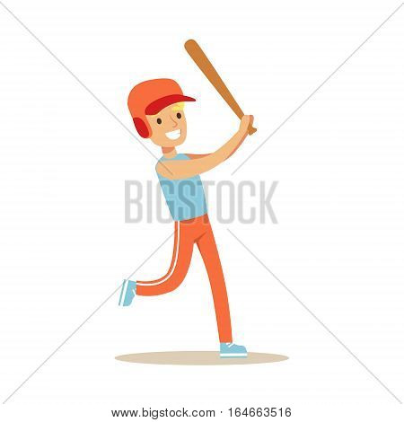 Boy Playing Baseball, Kid Practicing Different Sports And Physical Activities In Physical Education Class. Athletic Teenager Happy To Do Sportive Training Cartoon Vector Illustration.