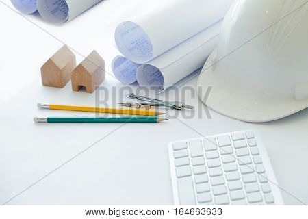 Copy Space Of Architecture And Engineer Desktop.