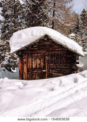 Skiing Dolomites Winter cabin traditional alpine life