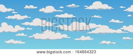 Clouds, repetition seamless pattern background, vector illustration