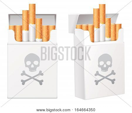 White pack of cigarettes with the image of the Jolly Roger (human skull with the crossed bones). Smoking is bad for your health. Isolated on white background. Vector illustration