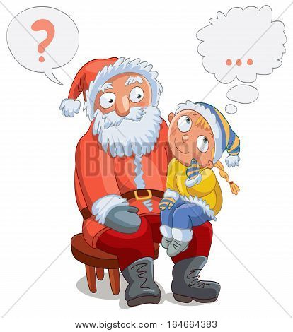 Little girl sitting on Santa's lap and make a wish, vector illustration