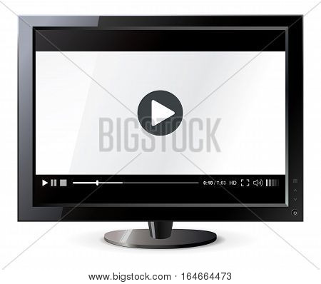 Liquid crystal display. Web video player. Isolated on white background. Vector illustration