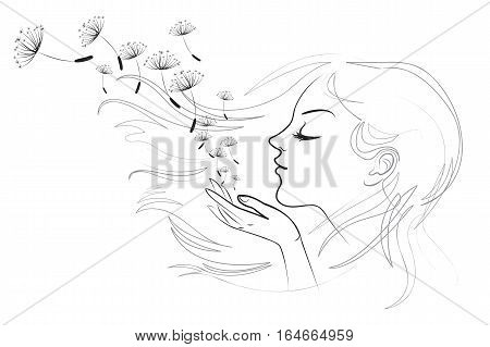Portrait of beautiful young long-haired woman. Hair fluttering wind. Girl blows away dandelion fluff. Vector illustration