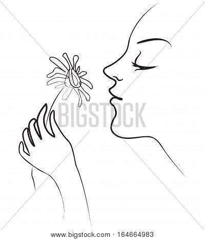 The girl holds in her hand tenderly daisy. Smelling flowers. Vector illustration