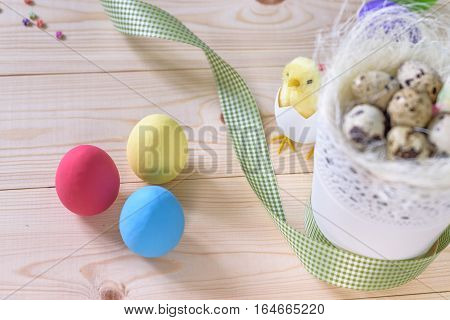 Easter Eggs On Wooden Background Copy Space